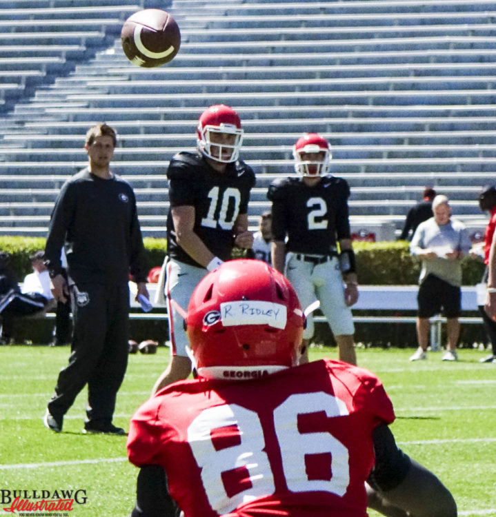 Jacob Eason to Riley Ridley (now wearing no. 8) - Spring 2016 Photo: Greg Poole/Bulldawg Illustrated