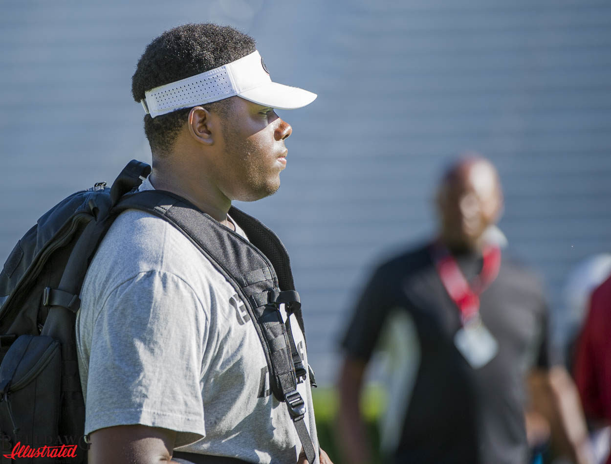 UGA offensive tackle commit Andrew Thomas was in attendance on day 3 of the Kirby Smart Camp