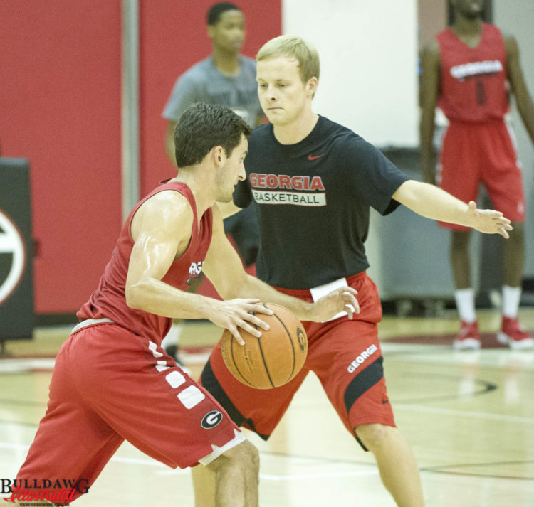 Brandon Young drives during UGA basketball practice 07/29/2016