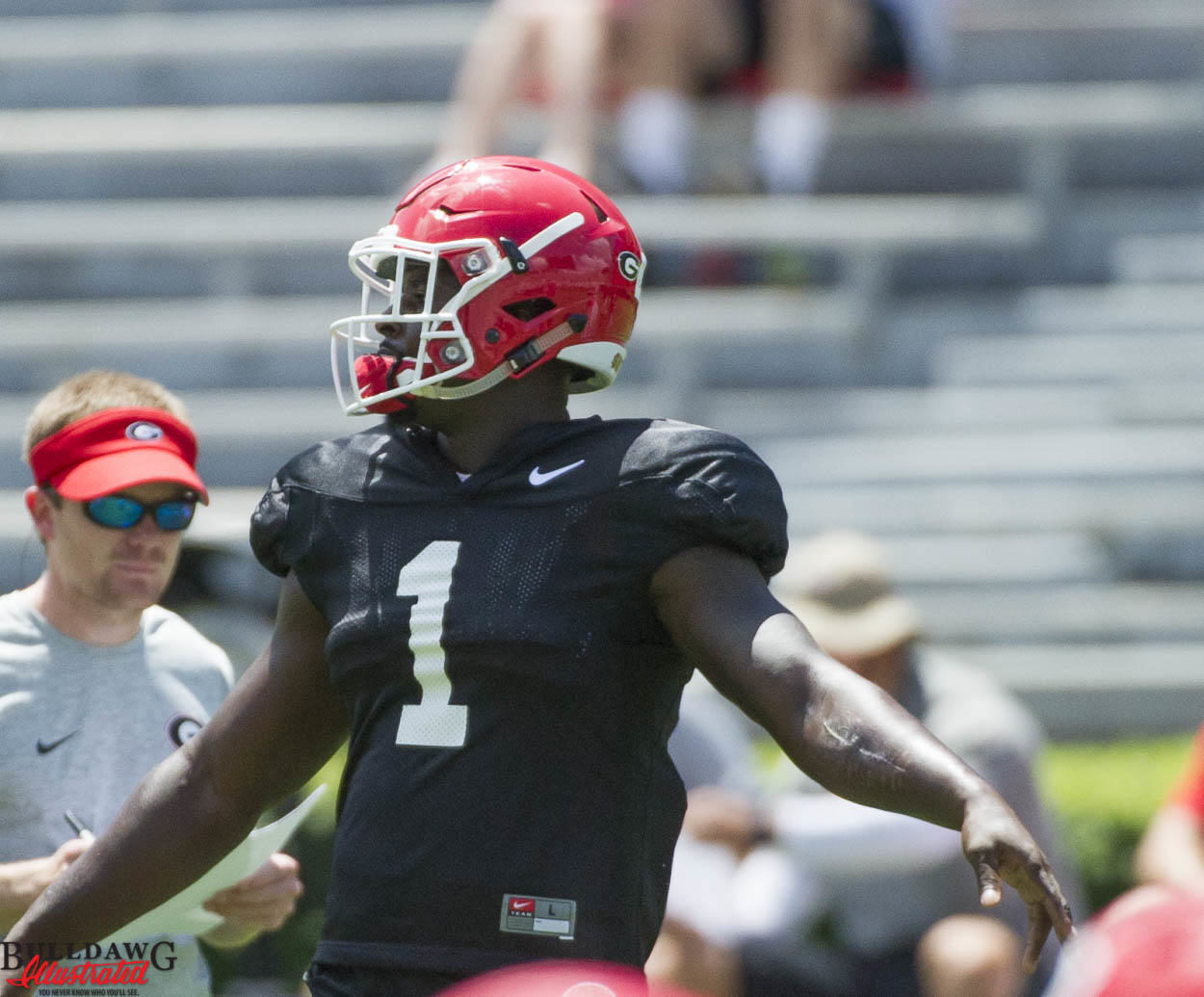 Sony Michel at UGA first scrimmage of fall camp 2016 (photo by Bulldawg Illustrated's Greg Poole)