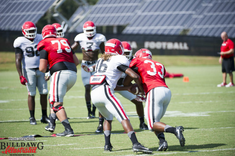 Caleeb Roberson (16) acting as QB to give UGA defense a speard option look in this drill