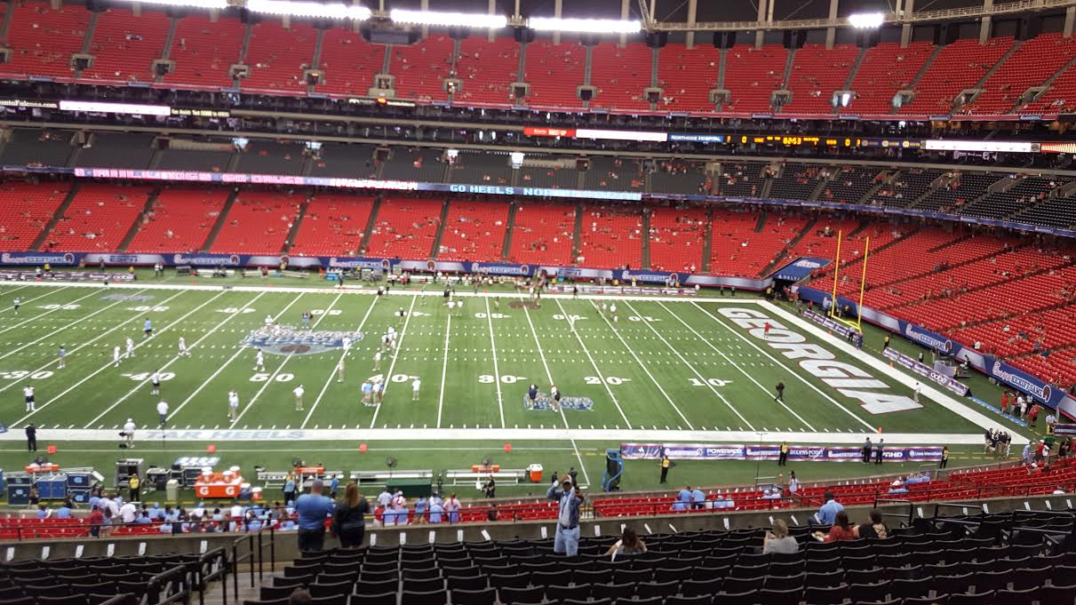 From the Press Box at the Georgia Dome for UNC vs UGA (photo by Murray Poole)