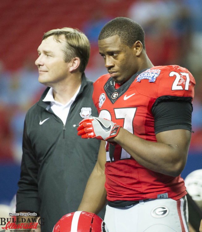 Nick Chubb and Kirby Smart during the award ceremony post game