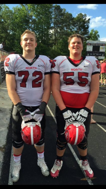 Warren Ericson (55) - on right and Sean Maginn (72) - on left, North Gwinnett High School (photo Warren Ericson - Twitter)