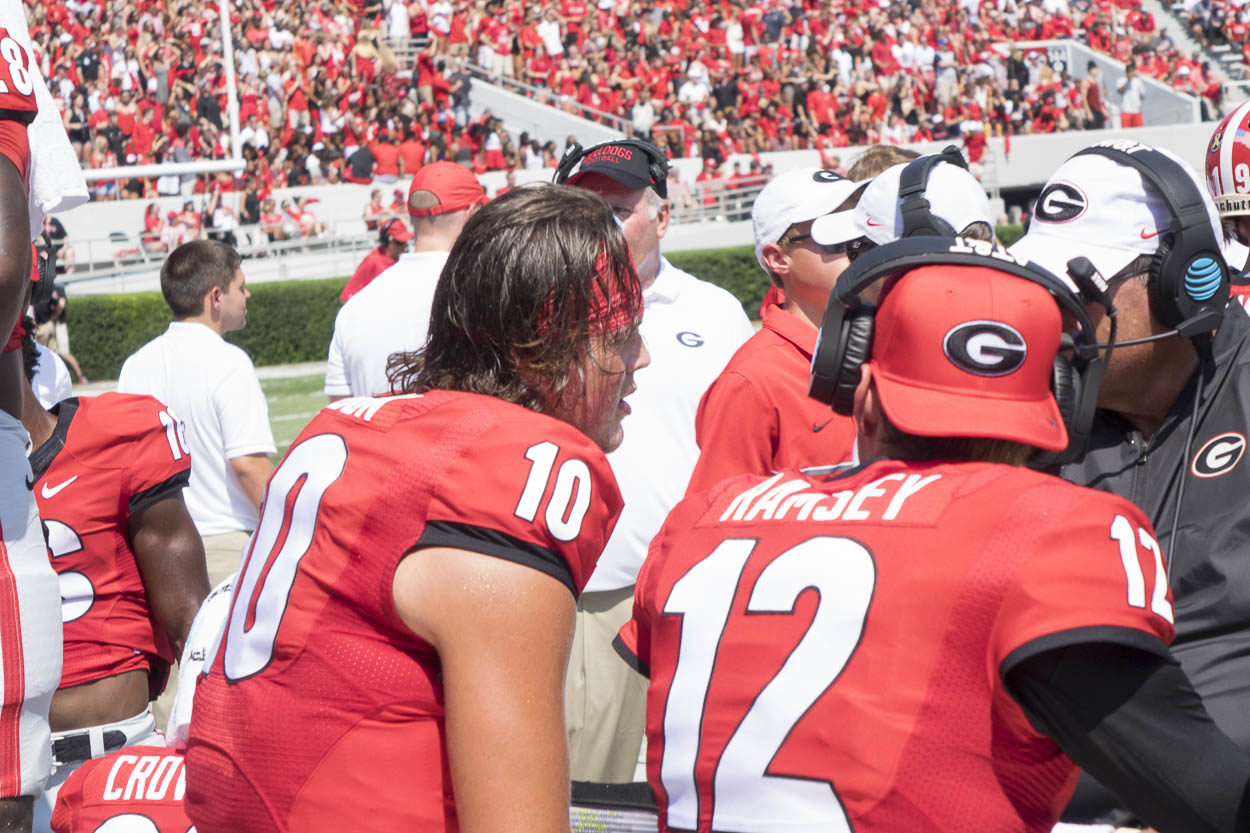 Bulldog QBs Jacob Eason (10) and Brice Ramsey (12)