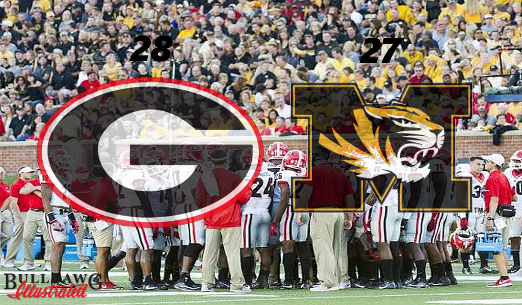 Georgia defense huddles on sideline with coaches after timeout in Georgia vs Missouri game - Photo by Greg Poole (Edit by Bob Miller)