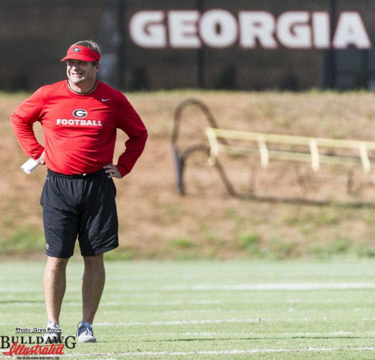 Kirby Smart looks over defensive line and linebacker drills - September 19, 2016