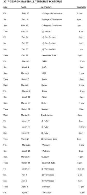 2017 baseball schedule – part one