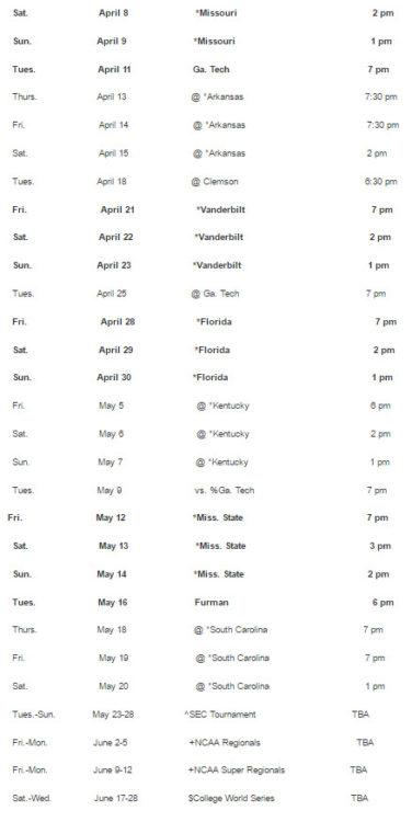 2017 baseball schedule – part 2