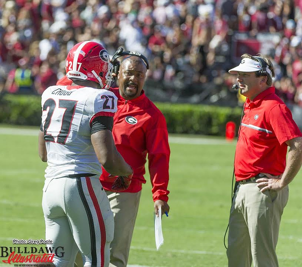 Nick Chubb with RB Coach Dell McGee and Head Coach Kirby Smart - Georgia vs South Carolina, Oct 9, 2016 (photo by Greg Poole)