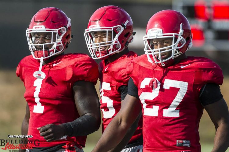 The Three Amigos at RB - Sony Michel (1), Brian Herrien (35), and Nick Chubb (27)