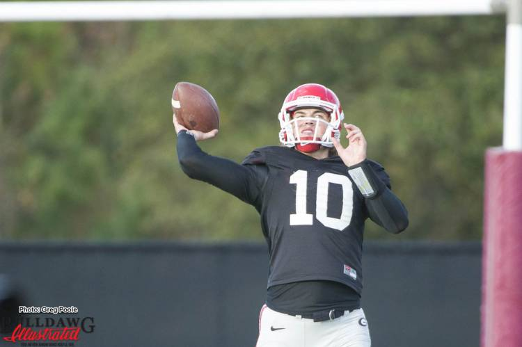 Quarterback Jacob Eason throws during practice November 8, 2016