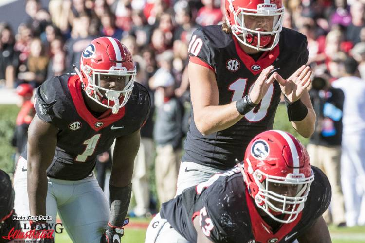 Sony Michel (1), Jacob Eason (10), and Lamont Gaillard (53)