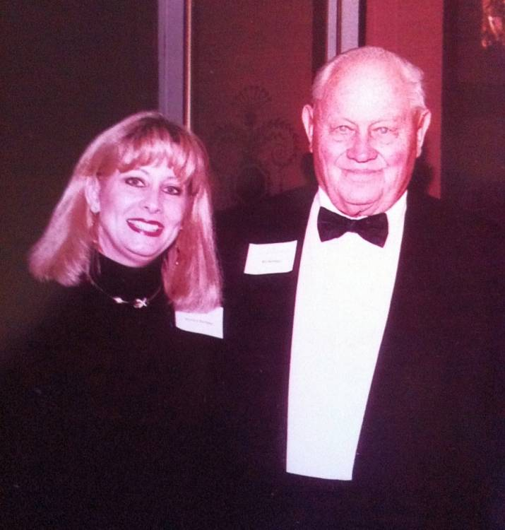 Barbara Hartman at the College Football Hall of Fame with her dad Bill Hartman for his 1984 induction ceremony