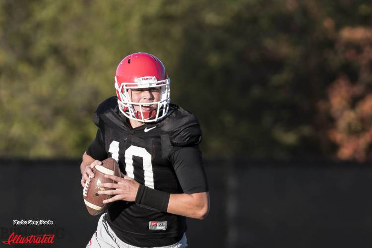 Jacob Eason (10) running through a practice drill
