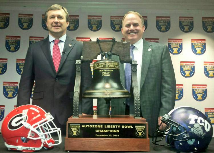Photo from from Autozone Liberty Bowl / Twitter: Kirby Smart (left) and Gary Patterson (right)