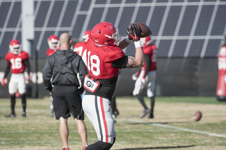 Issac Nauta (18) catches a pass in practice.