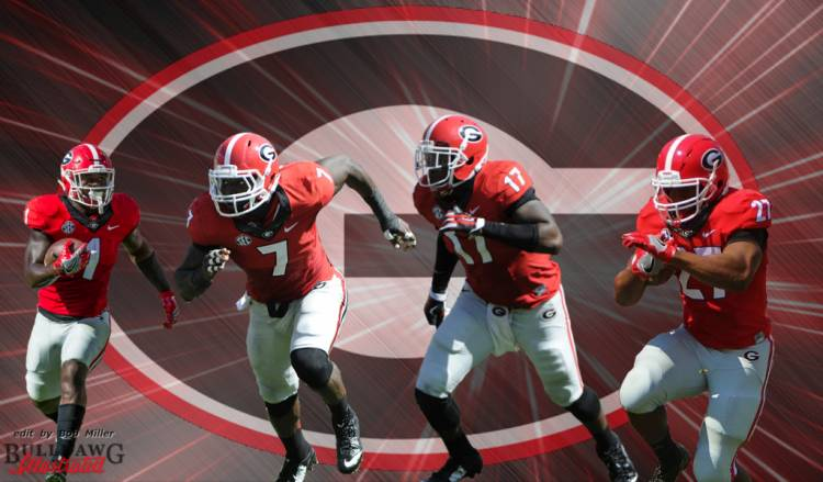 Sony Michel (1), Lorenzo Carter (7), Davin Bellamy (17), and Nick Chubb (27) edit by Bob Miller
