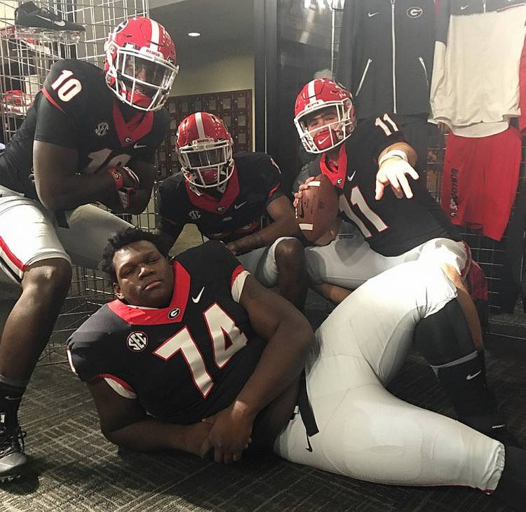 Jeremiah Holloman (1), Malik Herring (10), Jake Fromm (11), and Isaiah Wilson (74) on official visit to UGA (photo from Jake Fromm/Twitter)