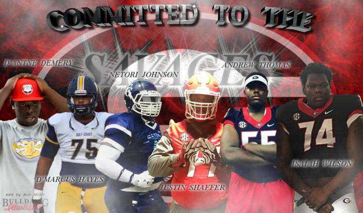 2017 Offensive Line - D'Antne Demery, D'Marcus Hayes, Netori Johnson, Justin Shaffer, Andrew Thomas, and Isaiah Wilson - CommittedToTheG edit by Bob Miller