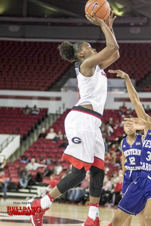 Shanea Armbrister with a jumper vs. Western Carolina