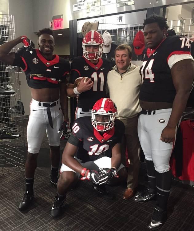 Jeremiah Holloman (1), Malik Herring (10), Jake Fromm (11), and Isaiah Wilson (74) with Georgia Head Coach Kirby Smart (photo from Jake Fromm - Twitter)