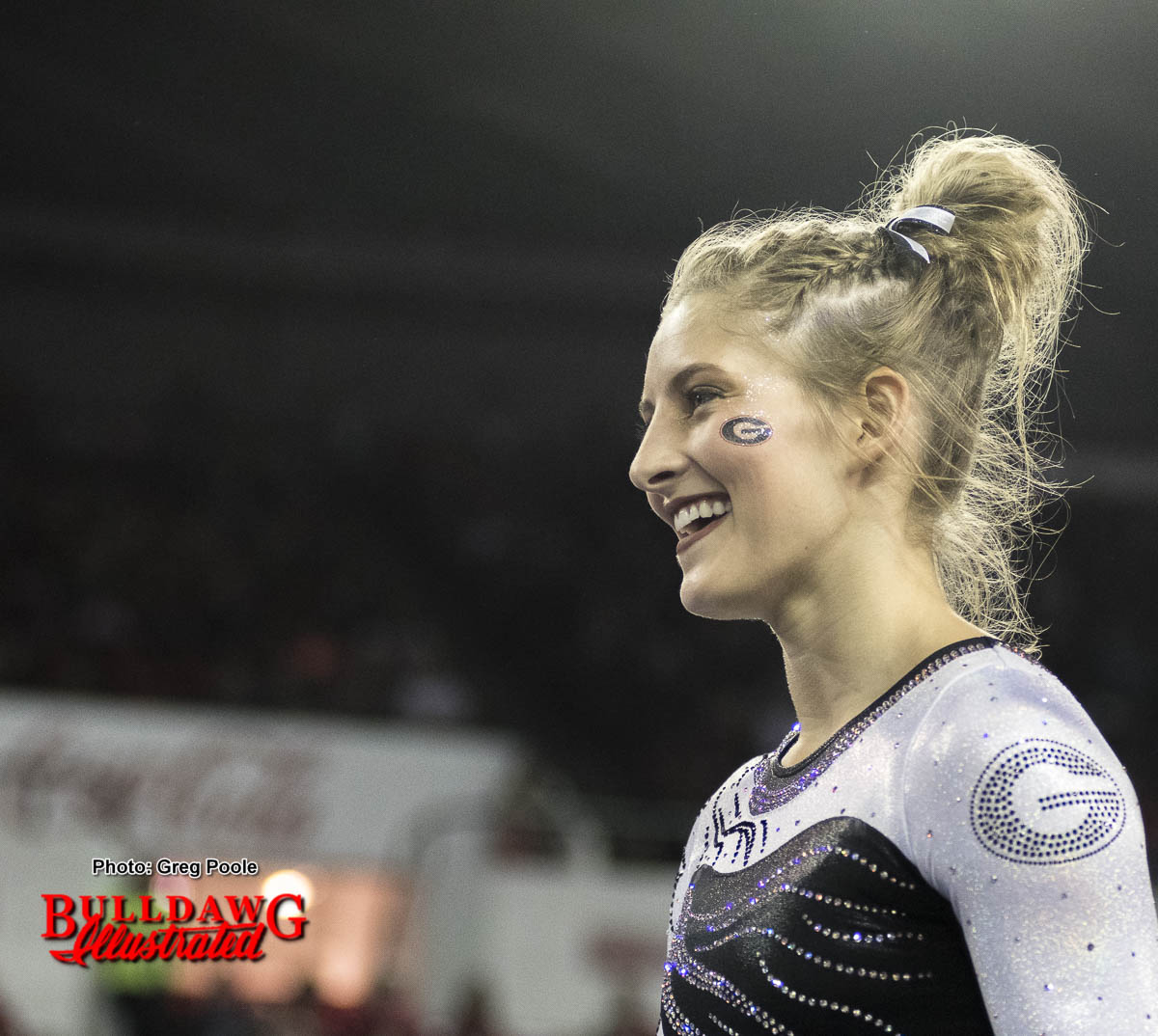 Sydney Snead smiles after a impressive routine.