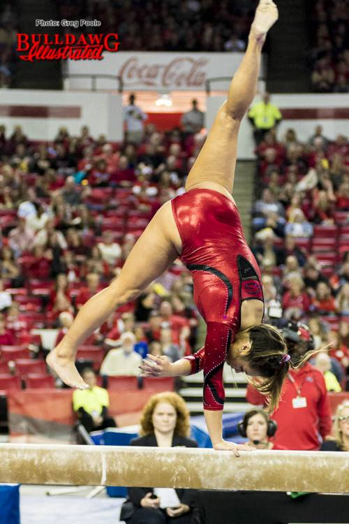 Sabrina Vega competes on balance beam during home meet versus Kentucky