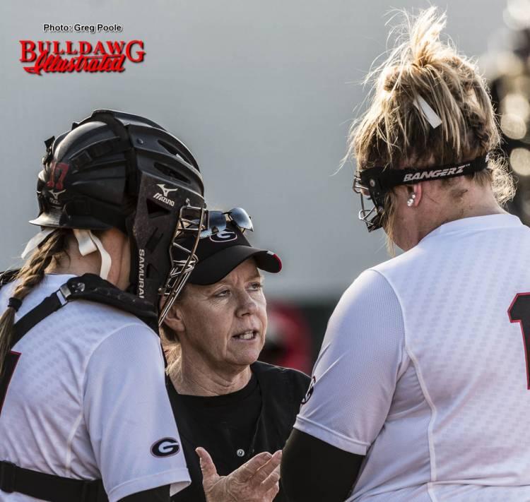 Lu Harris-Champer (UGA head coach) talks with Brittany Gray (R)