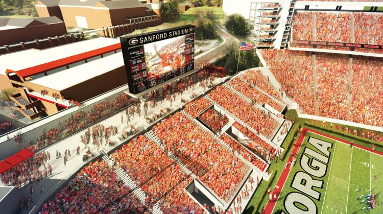 Graphic rendering of Sanford Stadium west end zone expansion (photo from Georgia Sports Communications)
