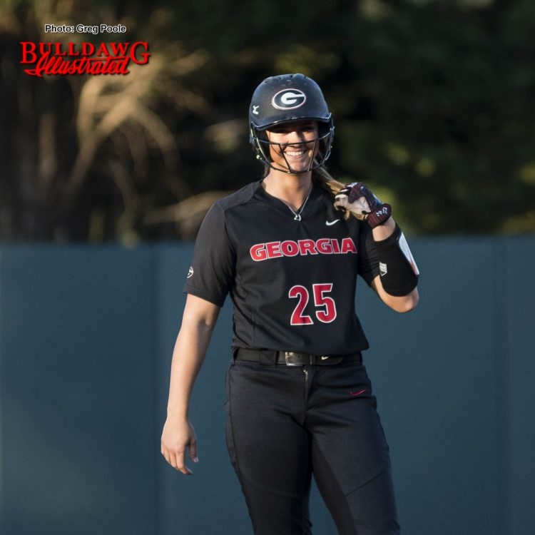 Lacey Sumerlin smiles at 2nd base after driving in Cortni Emanuel – Georgia vs. Auburn – April 1, 2017