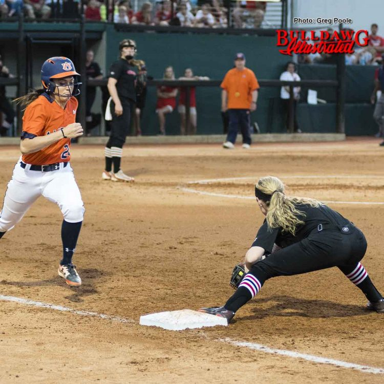 Look carefully and you can just see the yellow softball and Alysen Febrey's glove – Georgia vs. Auburn – April 1, 2017