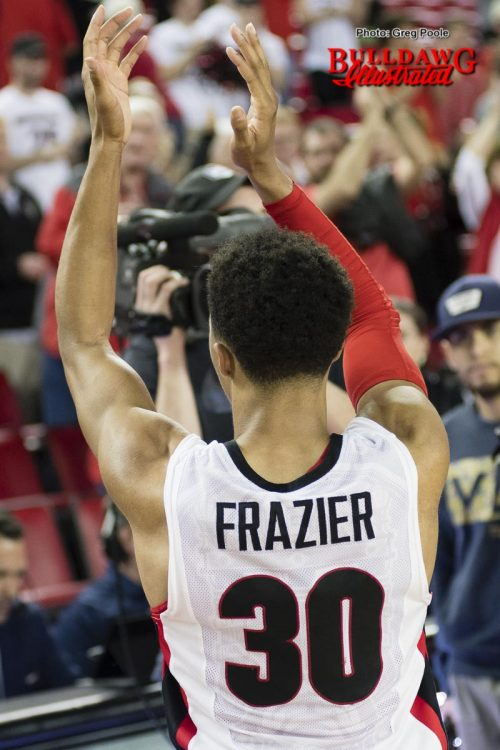 The crowd gives J.J. Frazier a standing ovation and J.J. applauds the crowd
