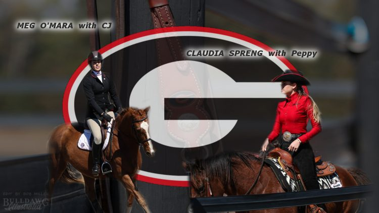 Meg O'Mara and Claudia Spreng UGA equestrian edit by Bob Miller 03-01-2017 (Photos By  by Cory Cole / Georgia Sports Communications)