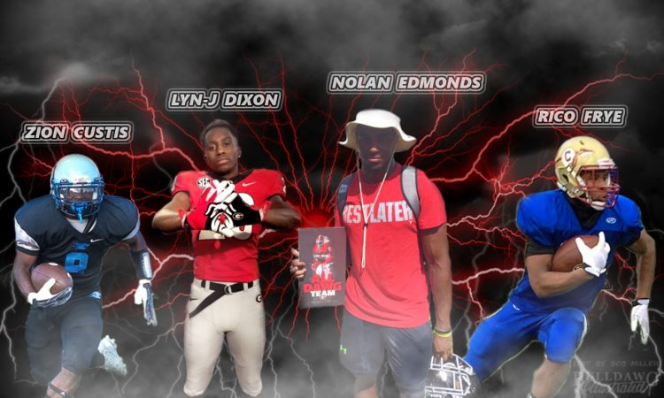 Zion Custis, Lyn-J Dixon, Nolan Edmonds, and Rico Frye 2018 RBs edit by Bob Miller