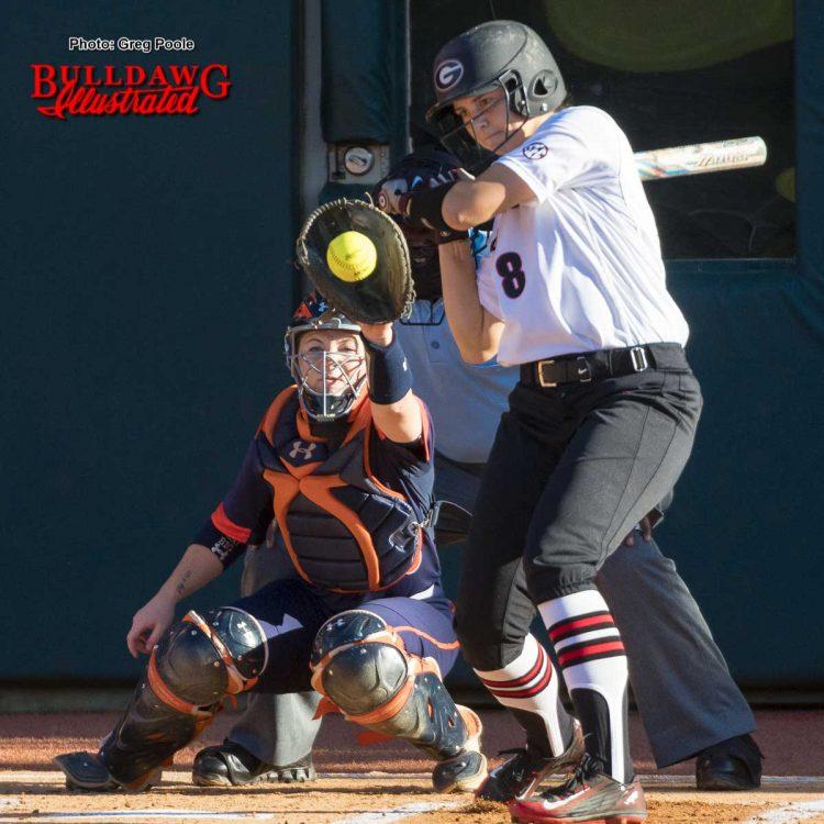 Alyssa DiCarlo backs away from a high/inside pitch – Georgia vs. Auburn game one