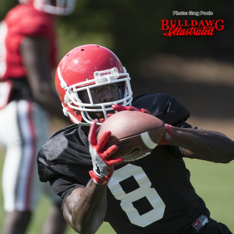 Sophomore WR Riley Ridley hauls in a pass from from QB Jacob Eason during Georgia's 10th practice of spring