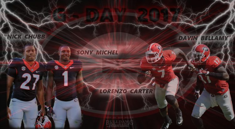 G-DAY 2017 edit by Bob Miller. Photos of Nick Chubb and Sony Michel by Rob Saye. Photos of Lorenzo Carter and Devin Bellamy by Greg Poole.