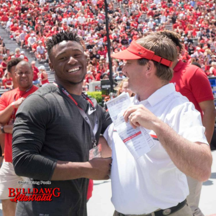 2019 Grayson HS linebacker Owen Pappoe (left) with Kirby Smart