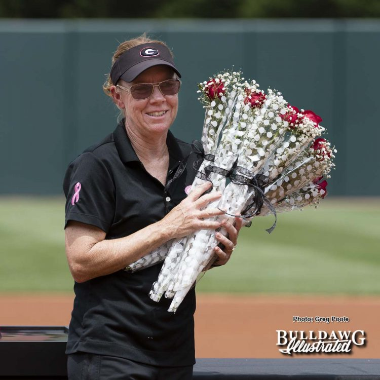 Head softball coach Lu Harris-Champer's with roses for the senior players – Georgia vs. South Carolina – April 29, 2017