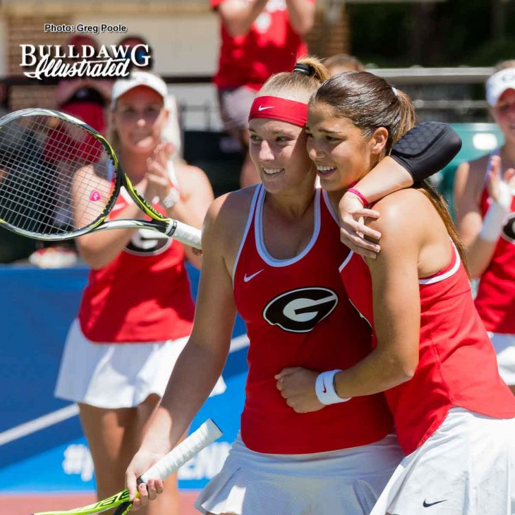 Kennedy Shaffer (L) and Elena Christofi celebrate after giving Georgia the doubles point – Georgia vs. North Carolina State - May 14, 2017