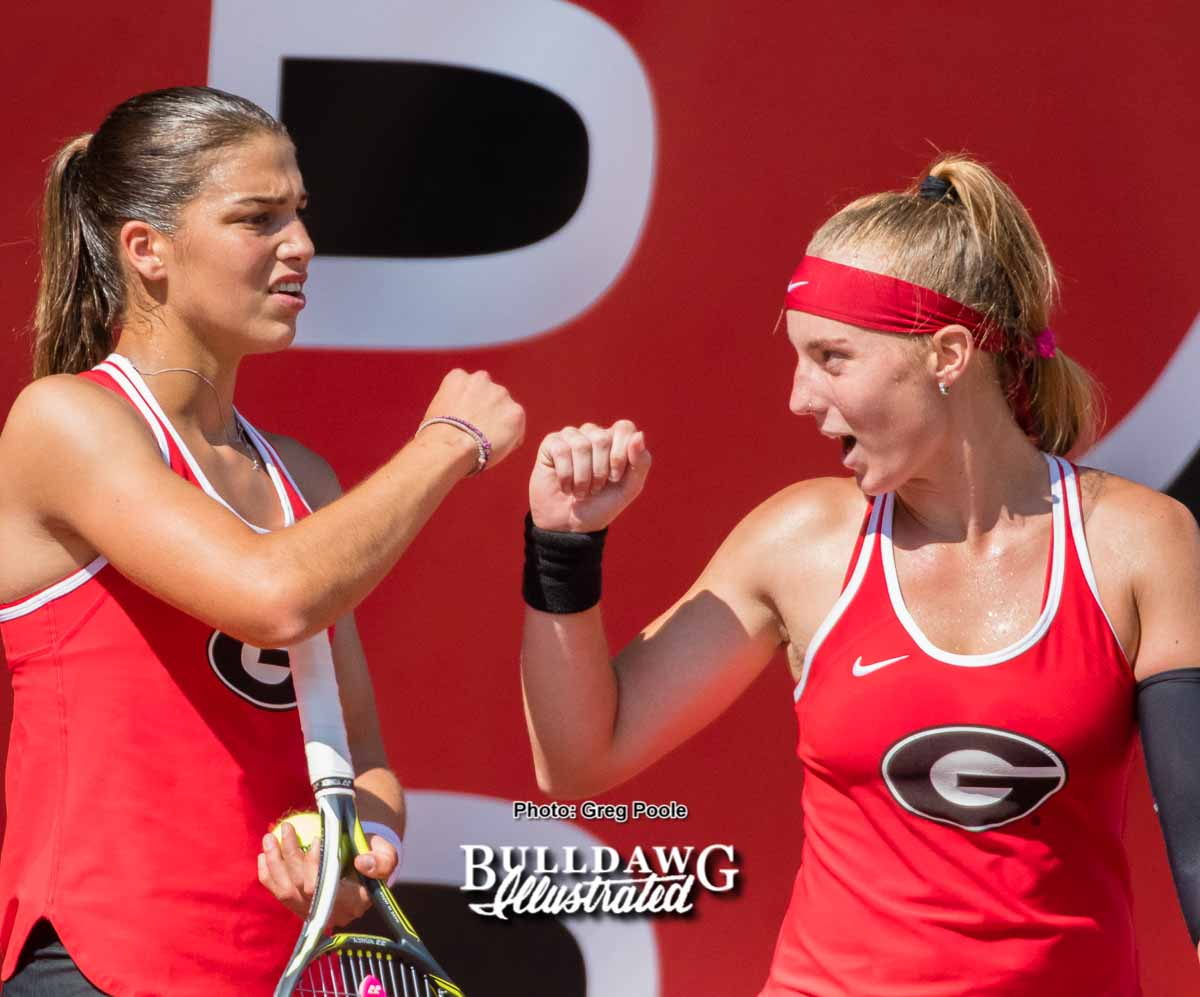 Elena Christofi (L) and Kennedy Shaffer - UGA Women's Tennis Team -