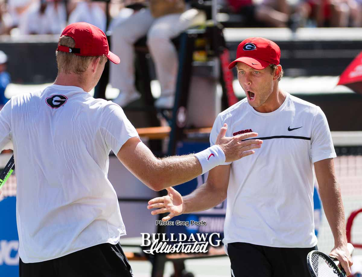 Walker Duncan (L) and Wayne Montgomery celebrate – Georgia vs. UCLA – NCAA Tournament – May 20, 2017