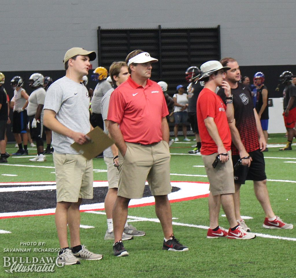 Georgia Head Coach Kirby Smart looks on at recruits attending his football camp at UGA
