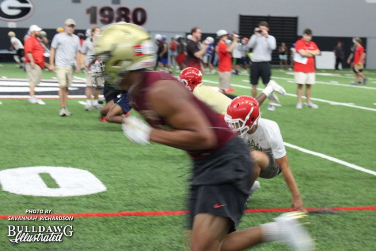 2018 TE prospect Tommy Tremble flies by the camera