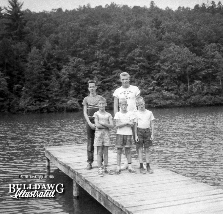 Athens Y Camp 1957 Back: Schley Ricketson, (L) Unknown Counselor Front: Greg Poole (L), Billy Wilhoit and Joe Ricketson