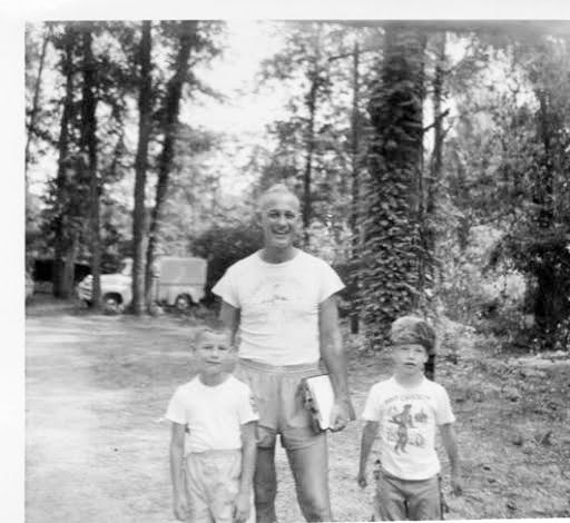 Greg Poole, Cobern Kelley and Joe Ricketson (in the fashionable coonskin cap) at Camp Pinetops 1954