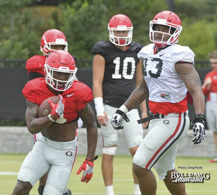 Mecole Hardman (4), Jonathan Lebetter (13), Jacob Eason (10) - UGA Fall Camp - Practice No. 16 - Thursday, August 17, 2017