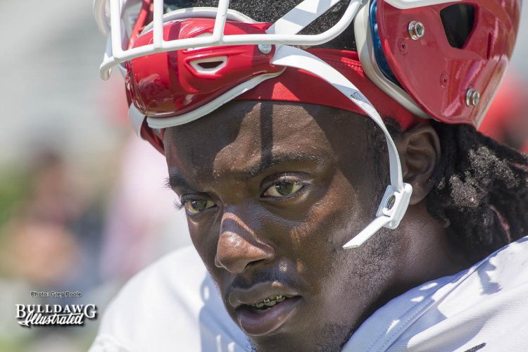 Freshman DB Richard LeCounte was working at safety with the 1's during drills at UGA's second scrimmage. - Saturday, August 19, 2017 -