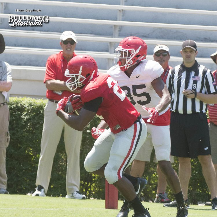 Nick-Chubb-running-hard-in-drills-during-UGAs-second-scrimmage-of-Fall-Camp